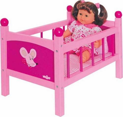 Кроватка для кукол, розовая (дерево
